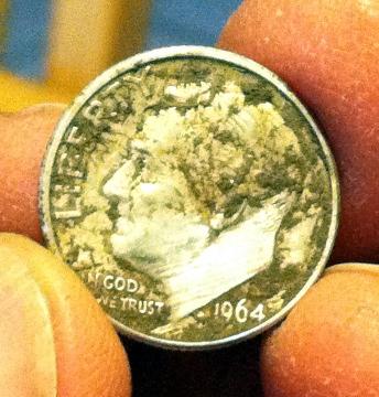 1964 dime closeup