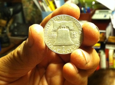 1948 Ben Franklin half dollar reverse