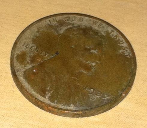 1937D wheat cent obverse