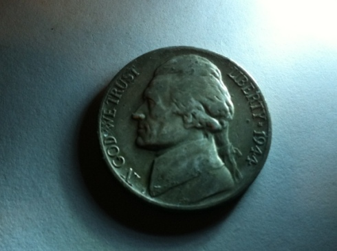 1944 D Jefferson nickel obverse