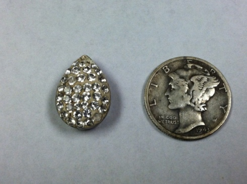 Front of silver pendant with cubic zirconias