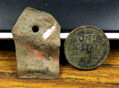 old copper tag and 1936D Lincoln cent