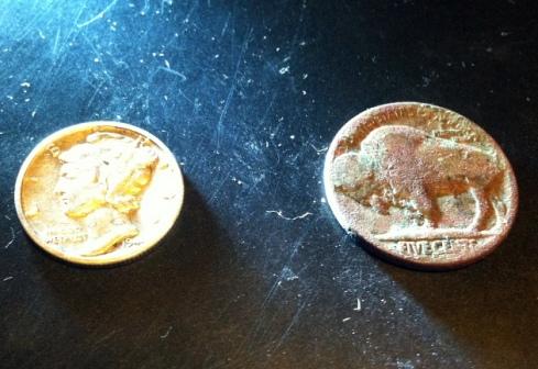 Mercury dime and Buffalo nickel