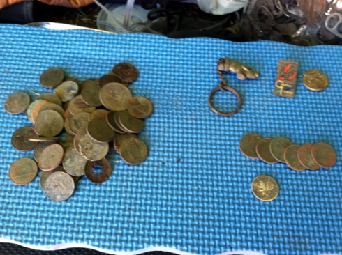 Various coins and metal objects