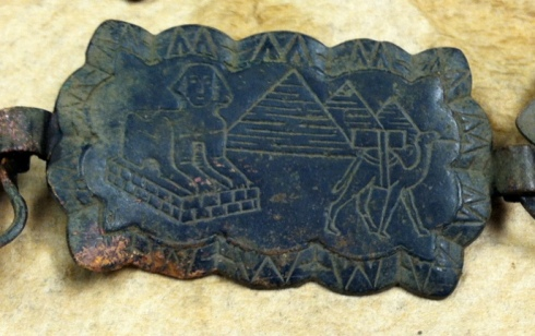 small copper plate with Egyptian pyramids and Sphinx